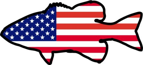 BASS Decal AMERICAN FLAG Bass Fishing Vinyl Sticker Bumper Kayak Made In The USA
